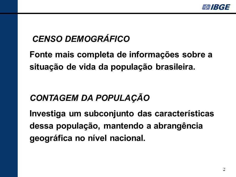 3 A CONTAGEM DA POPULAÇÃO é uma operaçãocensitária realizada entre dois censos demográficos, ou seja, no meio de cada década.