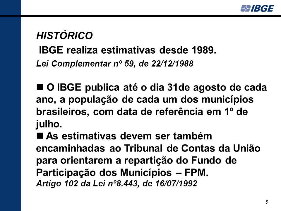 6 HISTÓRICO A contagem populacional, a partir dos anos 90, passou a ser um instrumento essencial para que o IBGE pudesse atender, mantendo seu padrão habitual de eficiência, às demandas de informações demográficas por parte de vários setores da sociedade.