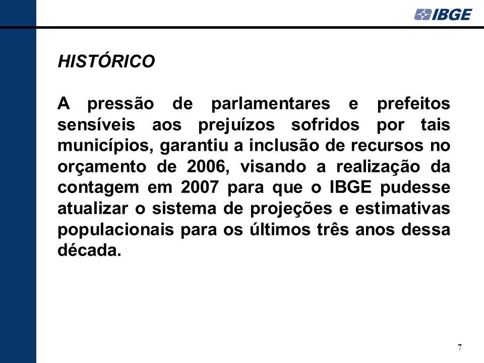 8 CONTAGEM 2007 Quantitativos mais consistentes para a população das Unidades da Federação e dos municípios.