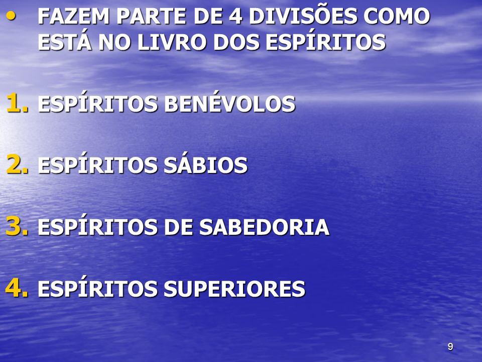 9 FAZEM PARTE DE 4 DIVISÕES COMO ESTÁ NO LIVRO DOS ESPÍRITOS FAZEM PARTE DE 4 DIVISÕES COMO ESTÁ NO LIVRO DOS ESPÍRITOS 1. ESPÍRITOS BENÉVOLOS 2. ESPÍ