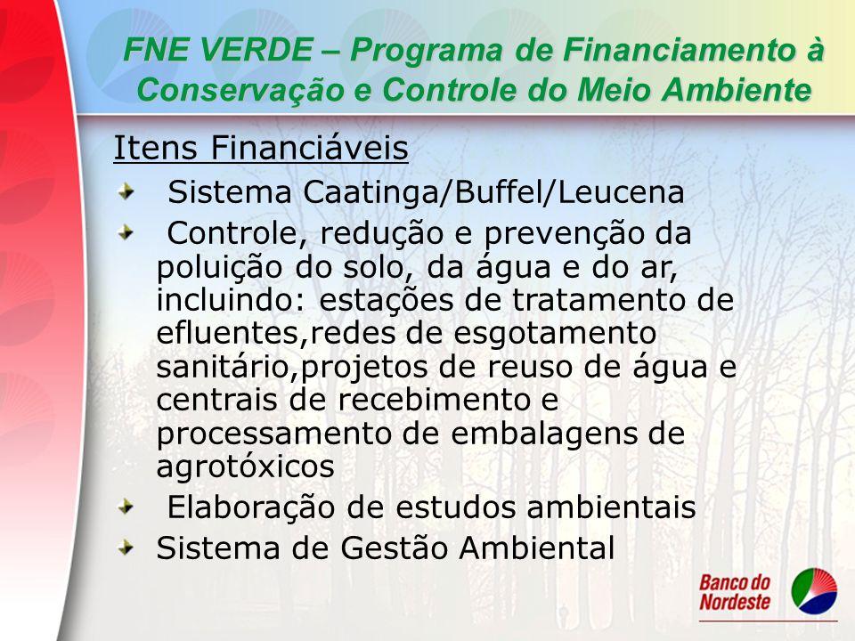 FNE VERDE – Programa de Financiamento à Conservação e Controle do Meio Ambiente Itens Financiáveis Sistema Caatinga/Buffel/Leucena Controle, redução e