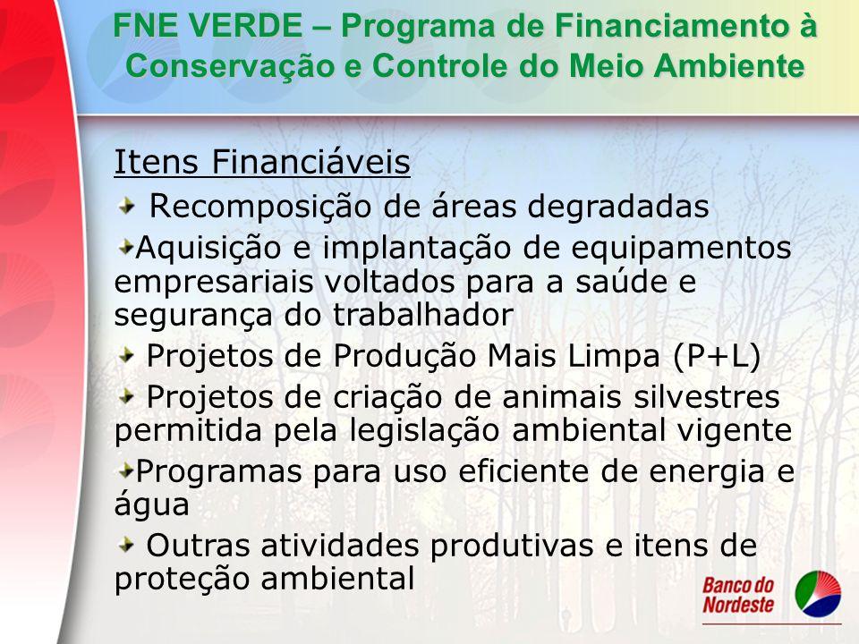 FNE VERDE – Programa de Financiamento à Conservação e Controle do Meio Ambiente Itens Financiáveis R ecomposição de áreas degradadas Aquisição e impla