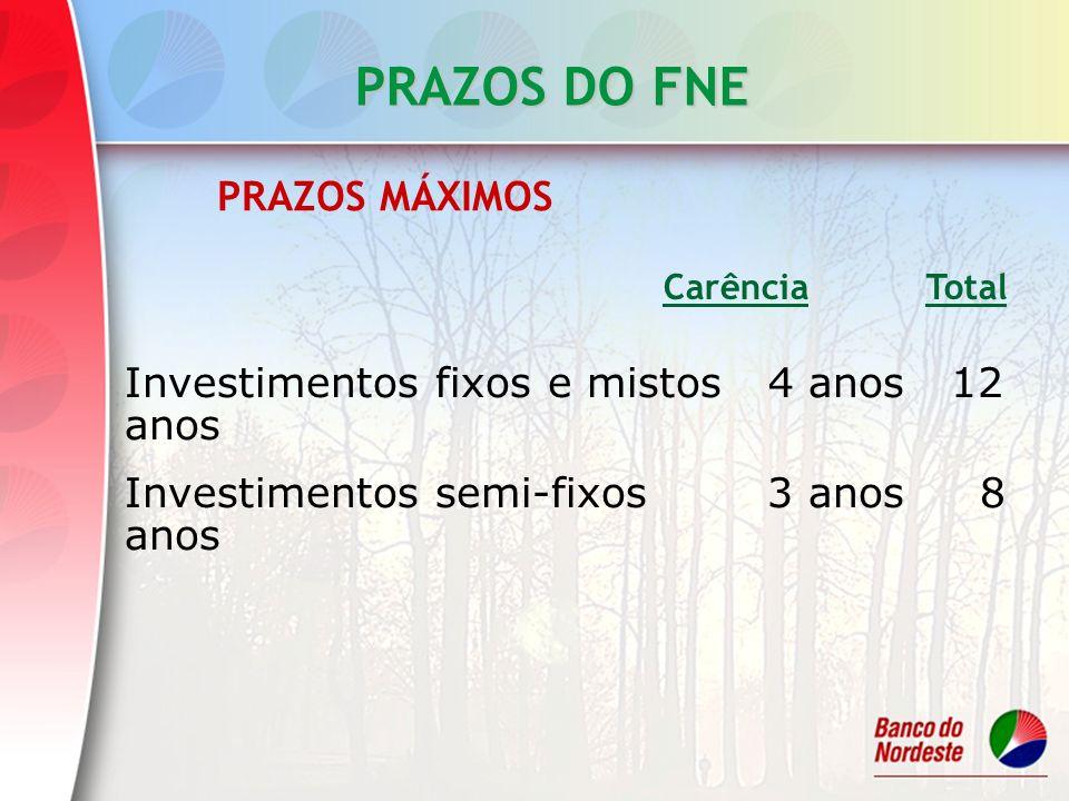 PRAZOS DO FNE Investimentos fixos e mistos 4 anos 12 anos Investimentos semi-fixos 3 anos 8 anos Carência Total PRAZOS MÁXIMOS