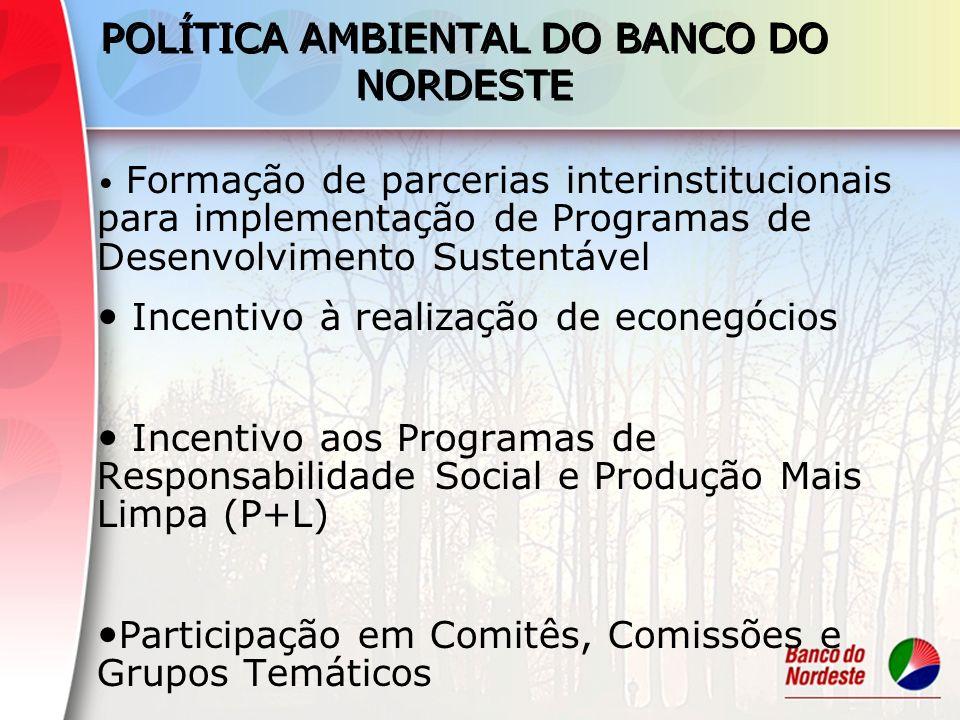 POLÍTICA AMBIENTAL DO BANCO DO NORDESTE Formação de parcerias interinstitucionais para implementação de Programas de Desenvolvimento Sustentável Incen
