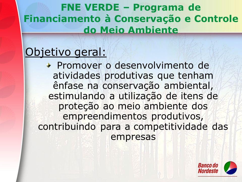 Objetivo geral: Promover o desenvolvimento de atividades produtivas que tenham ênfase na conservação ambiental, estimulando a utilização de itens de p