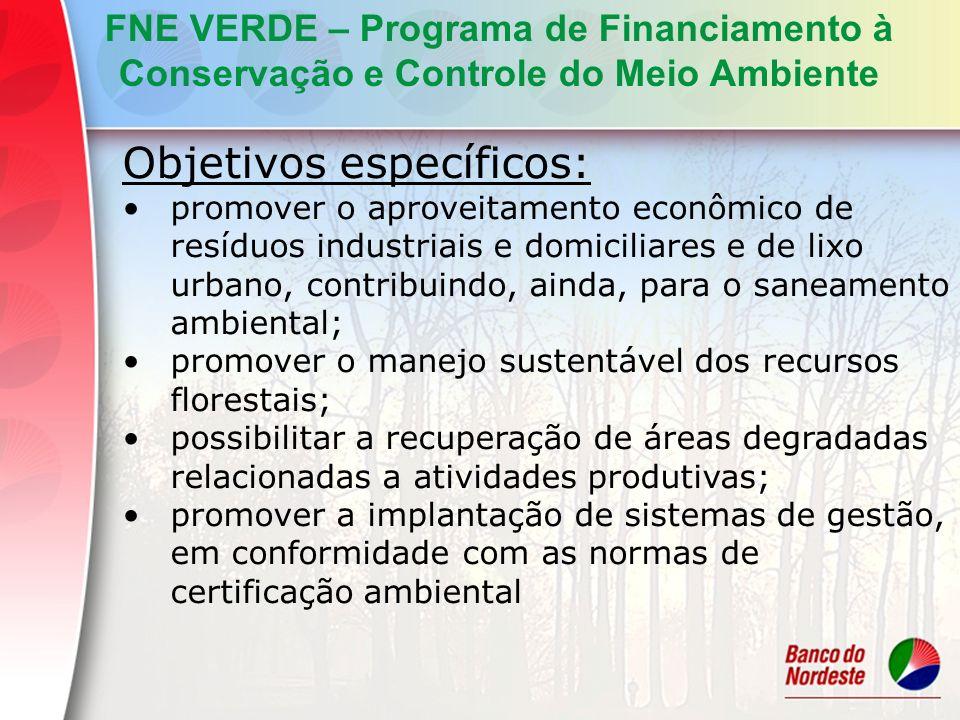 Objetivos específicos: promover o aproveitamento econômico de resíduos industriais e domiciliares e de lixo urbano, contribuindo, ainda, para o saneam