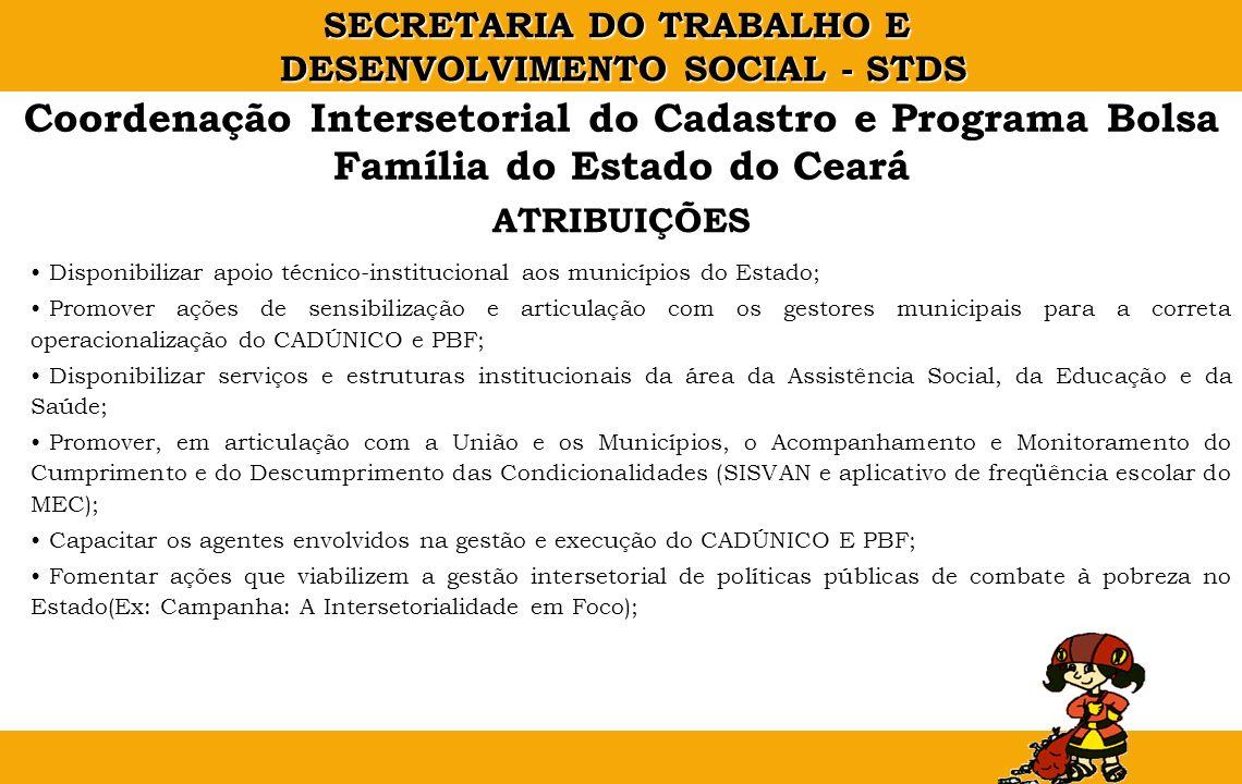 SECRETARIA DO TRABALHO E DESENVOLVIMENTO SOCIAL - STDS Coordenação Intersetorial do Cadastro e Programa Bolsa Família do Estado do Ceará Disponibiliza