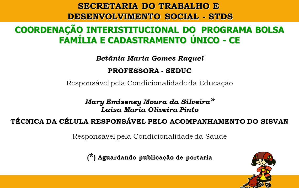 SECRETARIA DO TRABALHO E DESENVOLVIMENTO SOCIAL - STDS Betânia Maria Gomes Raquel PROFESSORA - SEDUC Responsável pela Condicionalidade da Educação Mar
