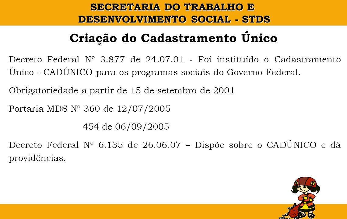 SECRETARIA DO TRABALHO E DESENVOLVIMENTO SOCIAL - STDS Decreto Federal Nº 3.877 de 24.07.01 - Foi instituído o Cadastramento Único - CADÚNICO para os