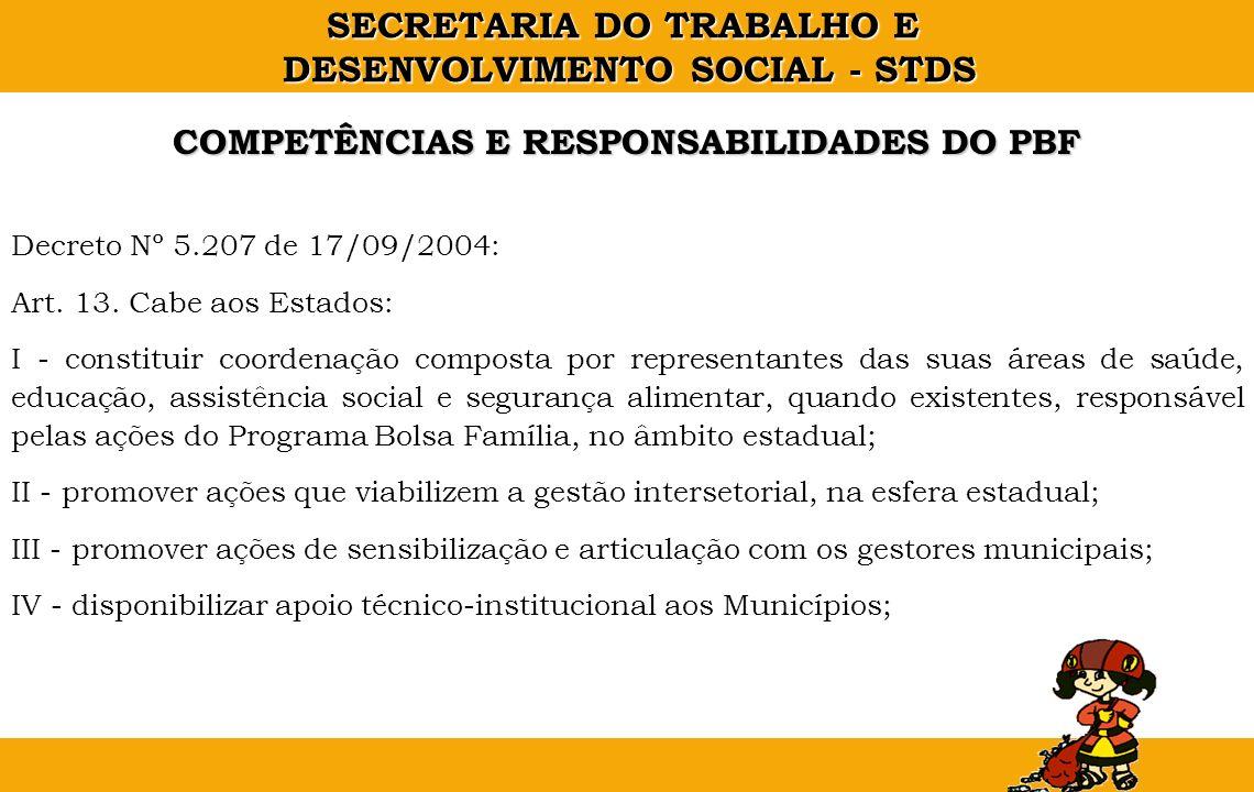SECRETARIA DO TRABALHO E DESENVOLVIMENTO SOCIAL - STDS Decreto Nº 5.207 de 17/09/2004: Art. 13. Cabe aos Estados: I - constituir coordenação composta