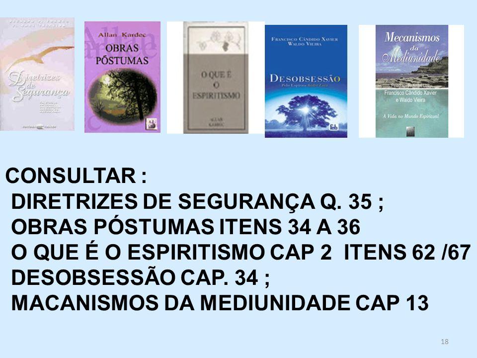 18 CONSULTAR : DIRETRIZES DE SEGURANÇA Q. 35 ; OBRAS PÓSTUMAS ITENS 34 A 36 O QUE É O ESPIRITISMO CAP 2 ITENS 62 /67 DESOBSESSÃO CAP. 34 ; MACANISMOS