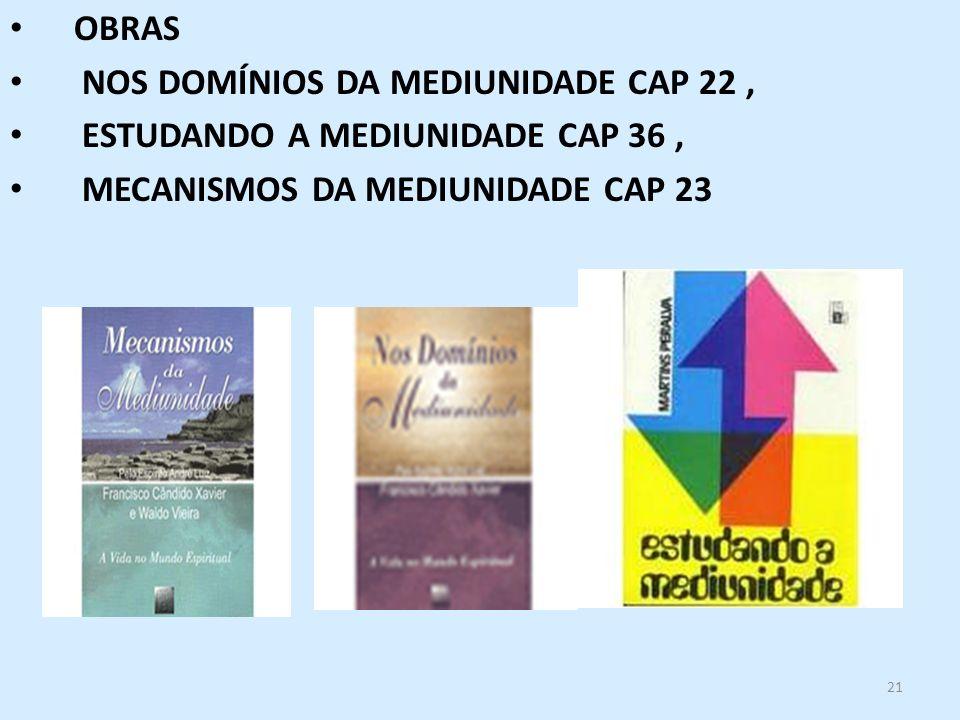 21 OBRAS NOS DOMÍNIOS DA MEDIUNIDADE CAP 22, ESTUDANDO A MEDIUNIDADE CAP 36, MECANISMOS DA MEDIUNIDADE CAP 23