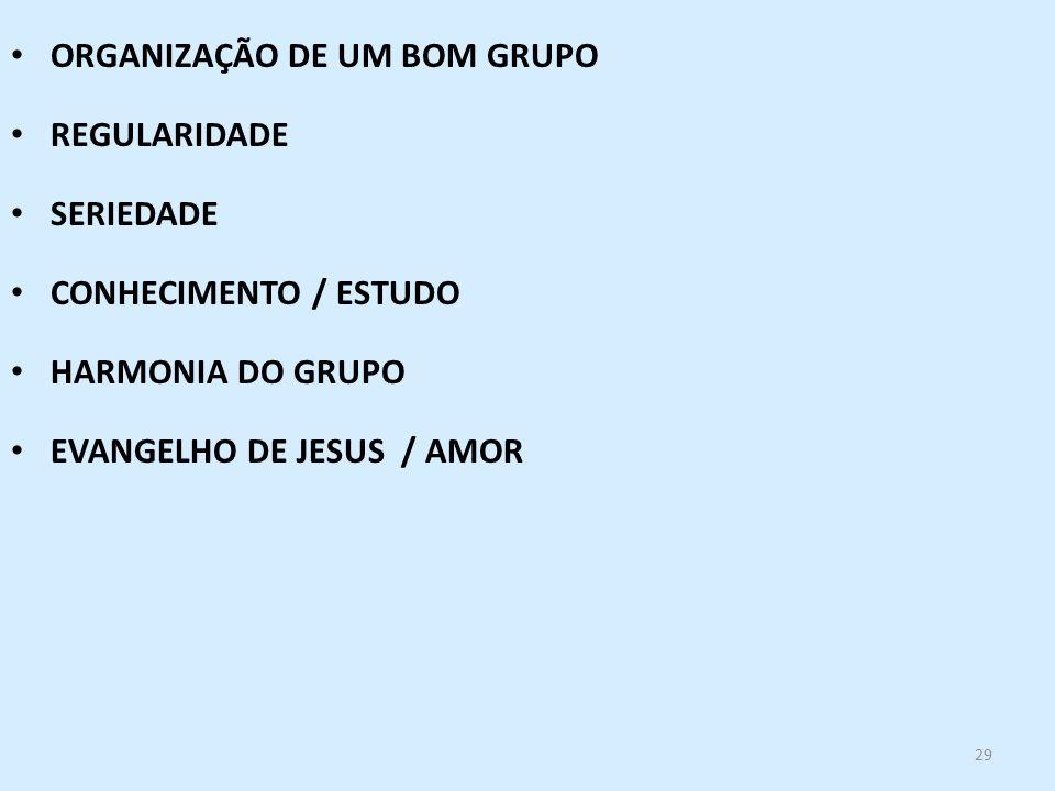 29 ORGANIZAÇÃO DE UM BOM GRUPO REGULARIDADE SERIEDADE CONHECIMENTO / ESTUDO HARMONIA DO GRUPO EVANGELHO DE JESUS / AMOR
