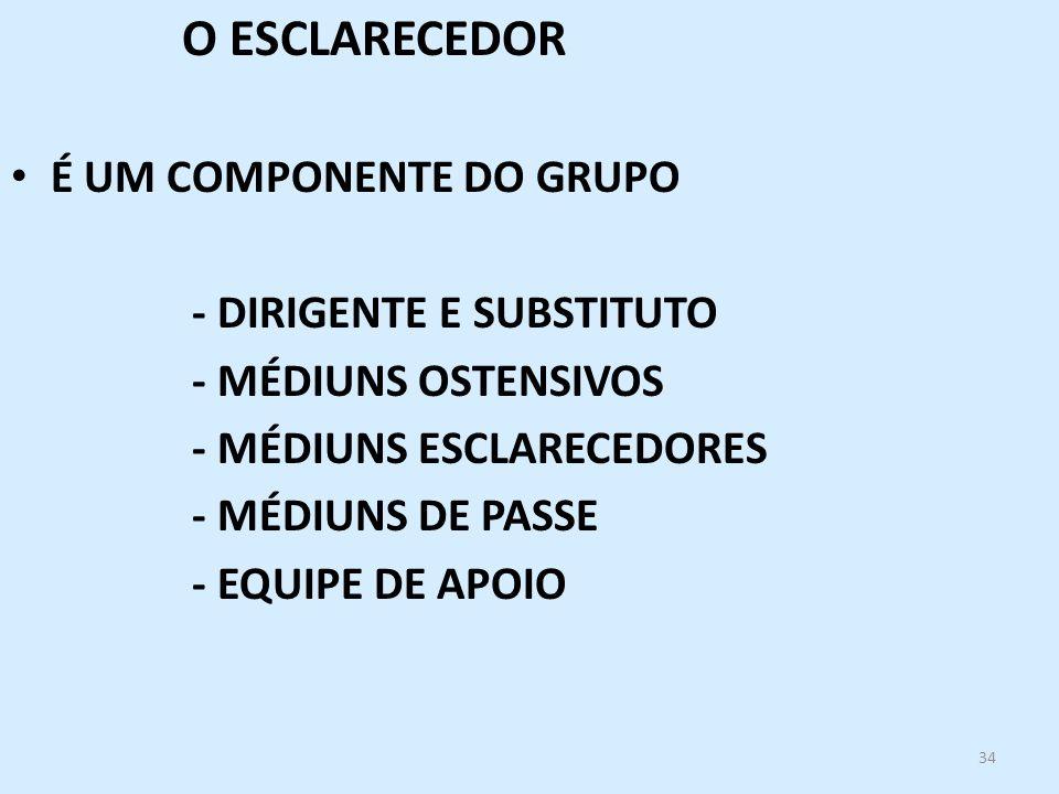 34 O ESCLARECEDOR É UM COMPONENTE DO GRUPO - DIRIGENTE E SUBSTITUTO - MÉDIUNS OSTENSIVOS - MÉDIUNS ESCLARECEDORES - MÉDIUNS DE PASSE - EQUIPE DE APOIO