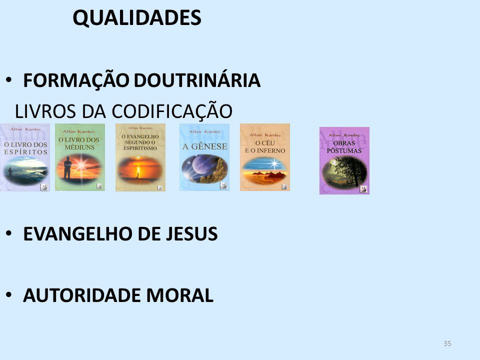 35 QUALIDADES FORMAÇÃO DOUTRINÁRIA LIVROS DA CODIFICAÇÃO EVANGELHO DE JESUS AUTORIDADE MORAL