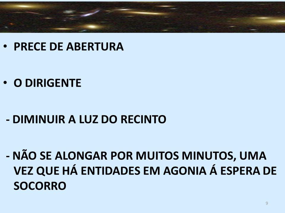 10 COOPERAÇÃO MENTAL DO GRUPO ALIMENTAR DUVIDAS E ATITUDES SUSPEITOSAS, FATO QUE PODERÁ DESARTICULAR AS COMUNICAÇÕES OU FAVORECER A INTROMISSÃO DE INTELIGÊNCIAS PERVERSAS, PONDO A PERDER EXCELENTES SERVIÇOS DE SOCORRO ( DESOBSESSÃO CAP 34, NOS DOMINIOS DA MEDIUNIDADE CAP 6 FINAL ) EMPENHAR-SE EM MANTER O PENSAMENTO ELEVADO E CIRCUNSCRITO A REUNIÃO