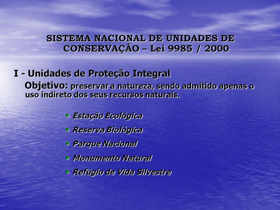 SISTEMA NACIONAL DE UNIDADES DE CONSERVAÇÃO – Lei 9985 / 2000 I - Unidades de Proteção Integral Objetivo: preservar a natureza, sendo admitido apenas