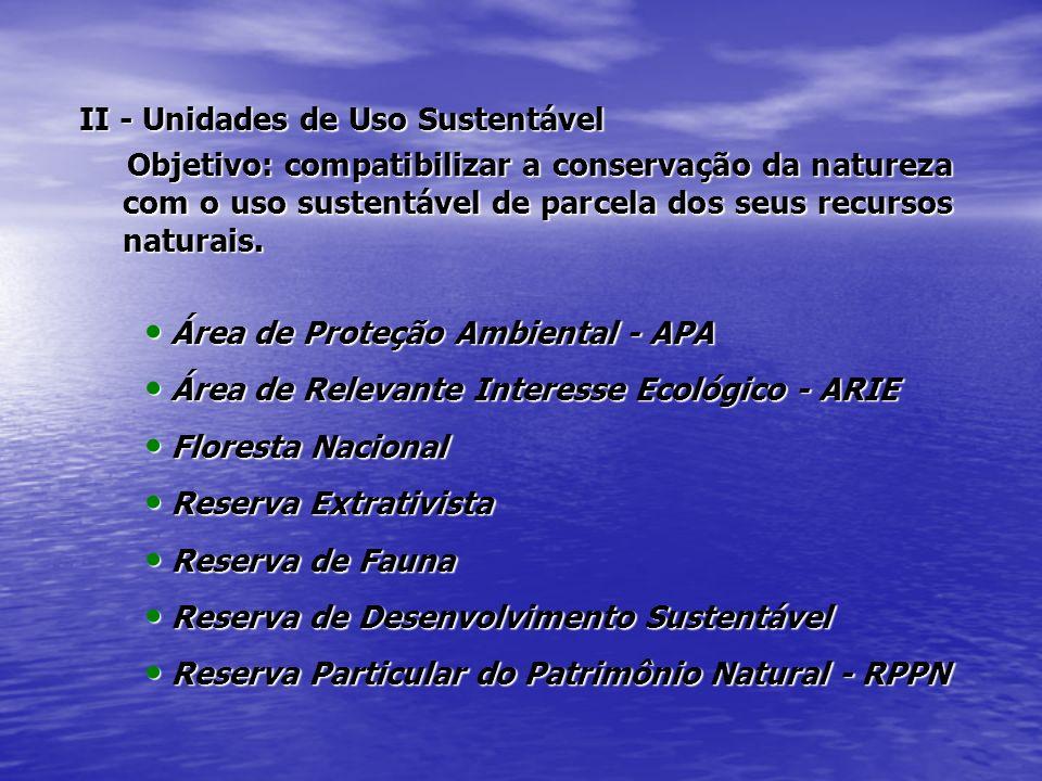 II - Unidades de Uso Sustentável Objetivo: compatibilizar a conservação da natureza com o uso sustentável de parcela dos seus recursos naturais. Objet
