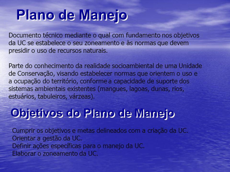 Plano de Manejo Documento técnico mediante o qual com fundamento nos objetivos da UC se estabelece o seu zoneamento e às normas que devem presidir o u