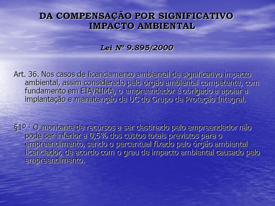 DA COMPENSAÇÃO POR SIGNIFICATIVO IMPACTO AMBIENTAL Lei Nº 9.895/2000 Art. 36. Nos casos de licenciamento ambiental de significativo impacto ambiental,