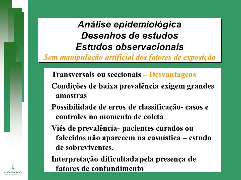 Transversais ou seccionais – Desvantagens Condições de baixa prevalência exigem grandes amostras Possibilidade de erros de classificação- casos e cont