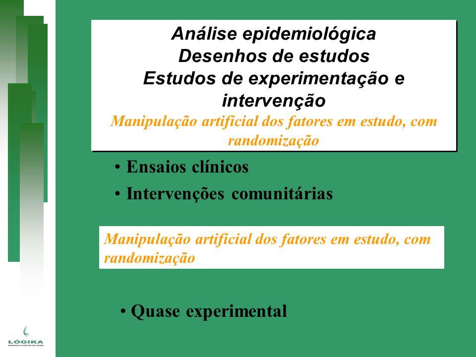 Ensaios clínicos Intervenções comunitárias Manipulação artificial dos fatores em estudo, com randomização Quase experimental Análise epidemiológica De