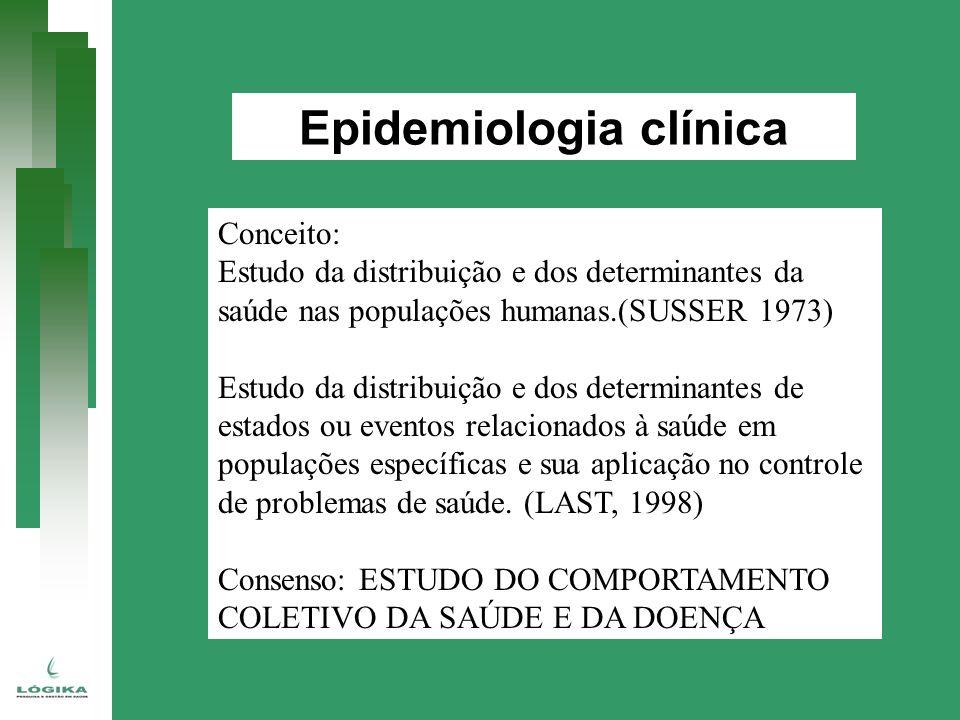 Epidemiologia clínica Conceito: Estudo da distribuição e dos determinantes da saúde nas populações humanas.(SUSSER 1973) Estudo da distribuição e dos