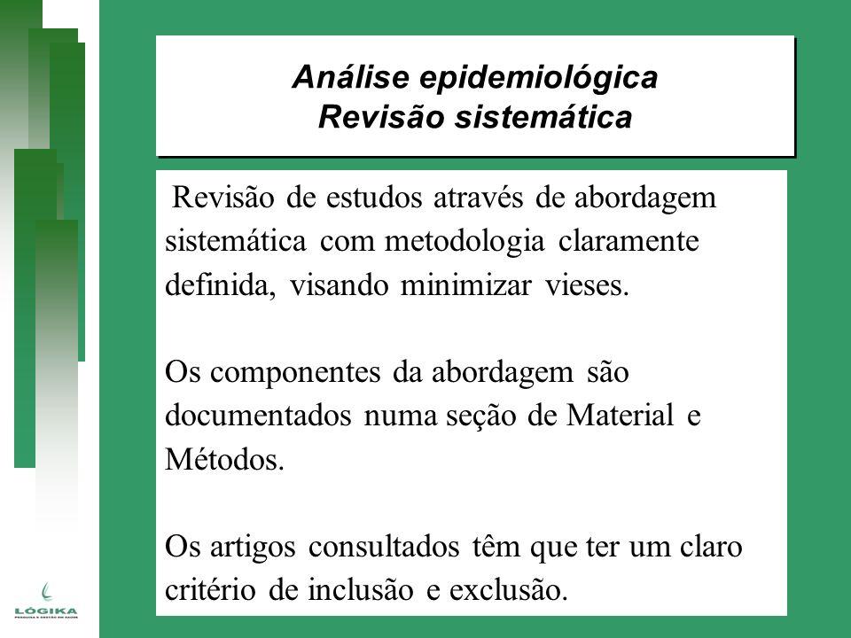 Análise epidemiológica Revisão sistemática Análise epidemiológica Revisão sistemática Revisão de estudos através de abordagem sistemática com metodolo