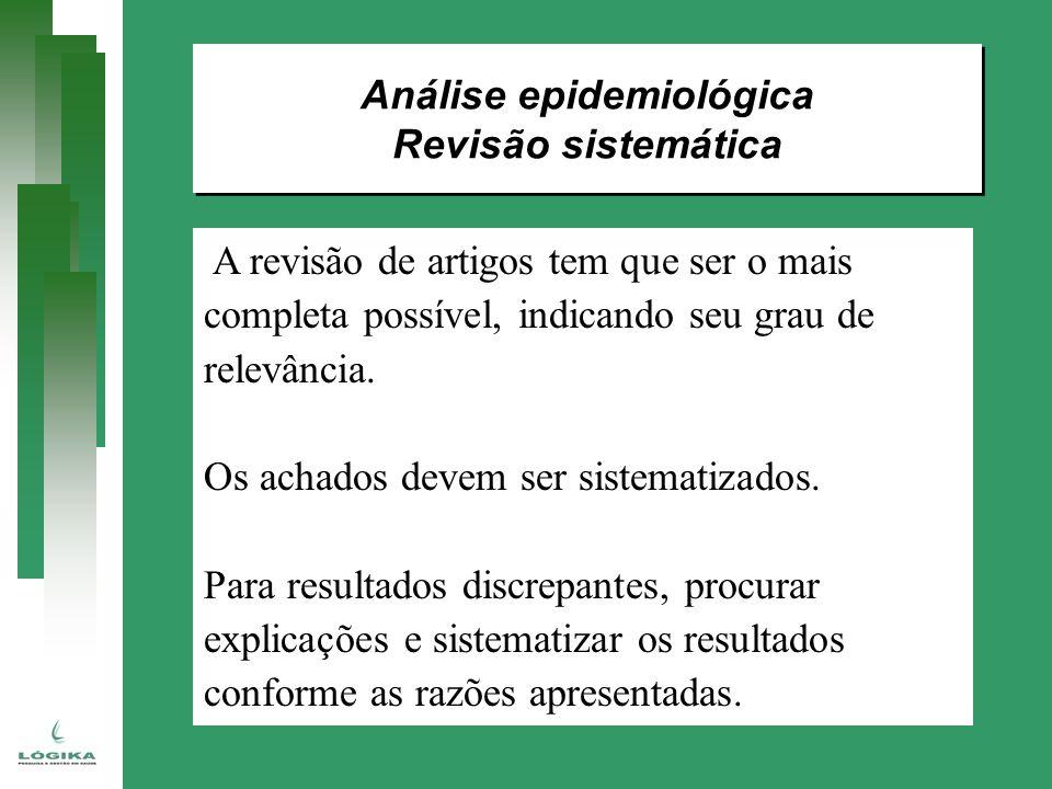 Análise epidemiológica Revisão sistemática Análise epidemiológica Revisão sistemática A revisão de artigos tem que ser o mais completa possível, indic