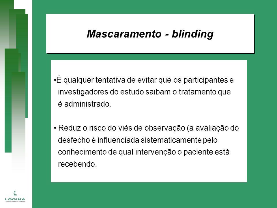 Mascaramento - blinding É qualquer tentativa de evitar que os participantes e investigadores do estudo saibam o tratamento que é administrado. Reduz o