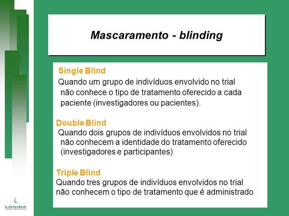 Mascaramento - blinding Single Blind Quando um grupo de indivíduos envolvido no trial não conhece o tipo de tratamento oferecido a cada paciente (inve
