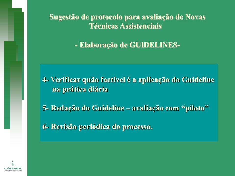Sugestão de protocolo para avaliação de Novas Técnicas Assistenciais - Elaboração de GUIDELINES- 4- Verificar quão factível é a aplicação do Guideline