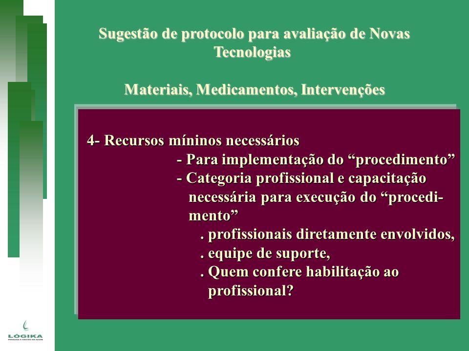 Sugestão de protocolo para avaliação de Novas Tecnologias Materiais, Medicamentos, Intervenções 4- Recursos míninos necessários 4- Recursos míninos ne