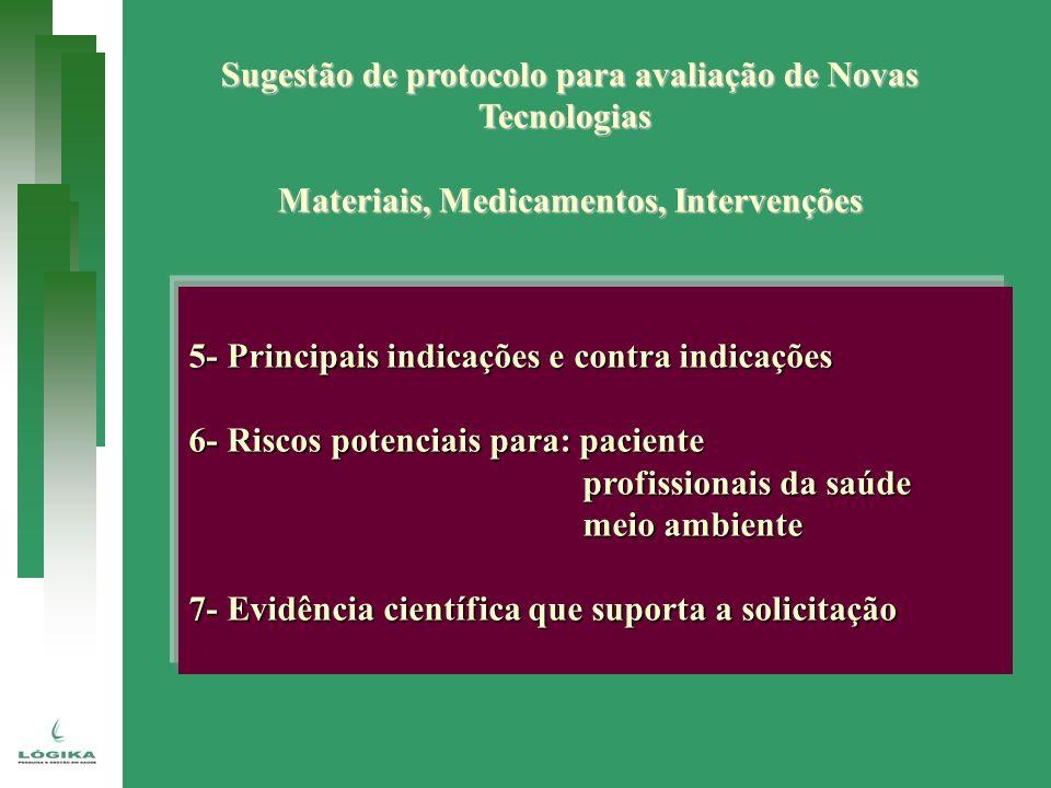 Sugestão de protocolo para avaliação de Novas Tecnologias Materiais, Medicamentos, Intervenções 5- Principais indicações e contra indicações 6- Riscos