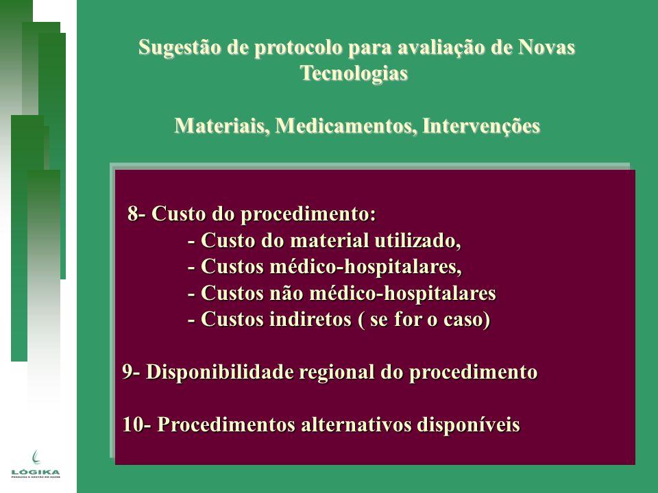 Sugestão de protocolo para avaliação de Novas Tecnologias Materiais, Medicamentos, Intervenções 8- Custo do procedimento: 8- Custo do procedimento: -