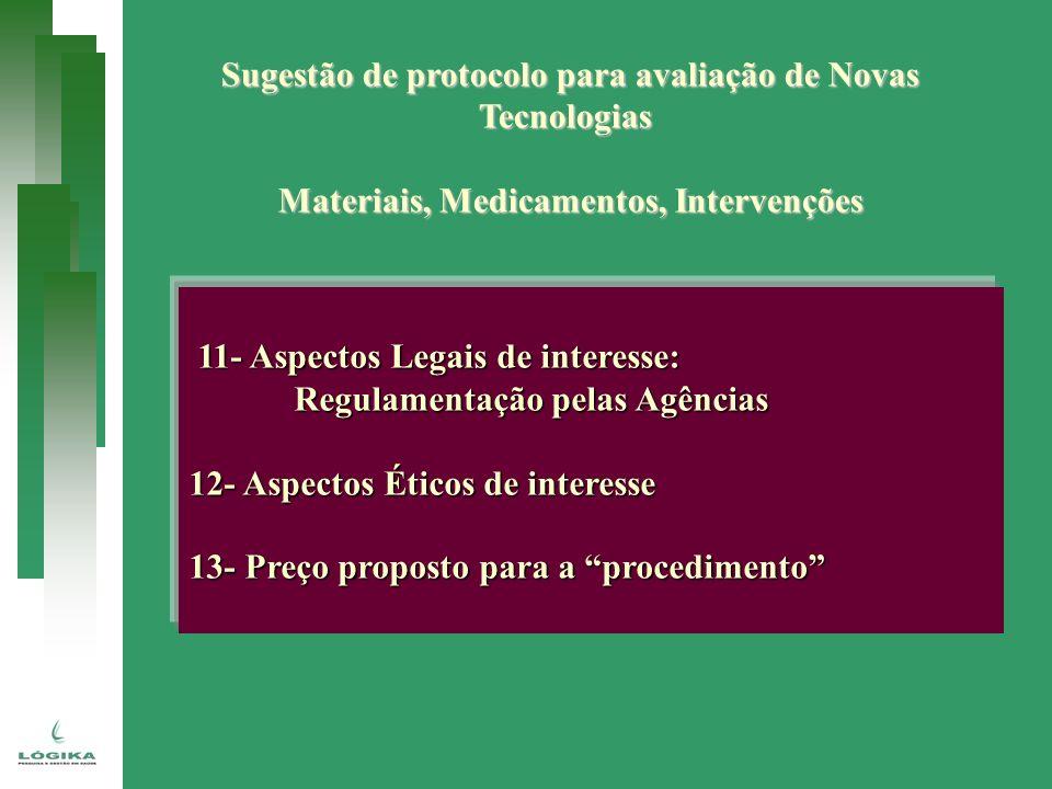 Sugestão de protocolo para avaliação de Novas Tecnologias Materiais, Medicamentos, Intervenções 11- Aspectos Legais de interesse: 11- Aspectos Legais