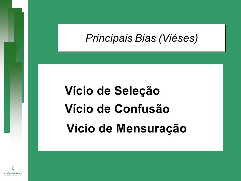 Principais Bias (Viéses) Vício de Seleção Vício de Confusão Vício de Mensuração