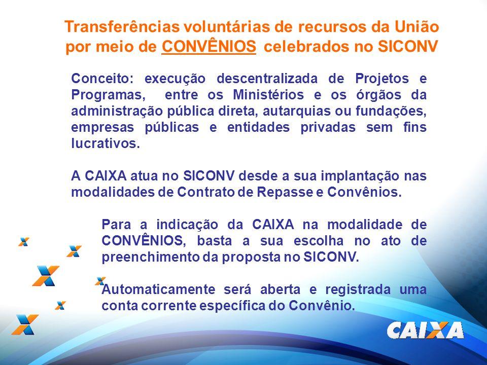 18 Transferências voluntárias de recursos da União por meio de CONVÊNIOS celebrados no SICONV Conceito: execução descentralizada de Projetos e Program