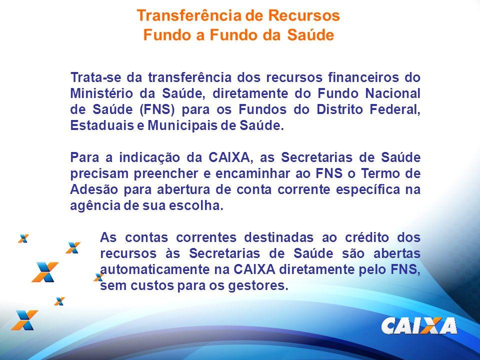 19 Transferência de Recursos Fundo a Fundo da Saúde Trata-se da transferência dos recursos financeiros do Ministério da Saúde, diretamente do Fundo Na