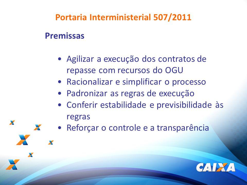 2 Portaria Interministerial 507/2011 Premissas Agilizar a execução dos contratos de repasse com recursos do OGU Racionalizar e simplificar o processo