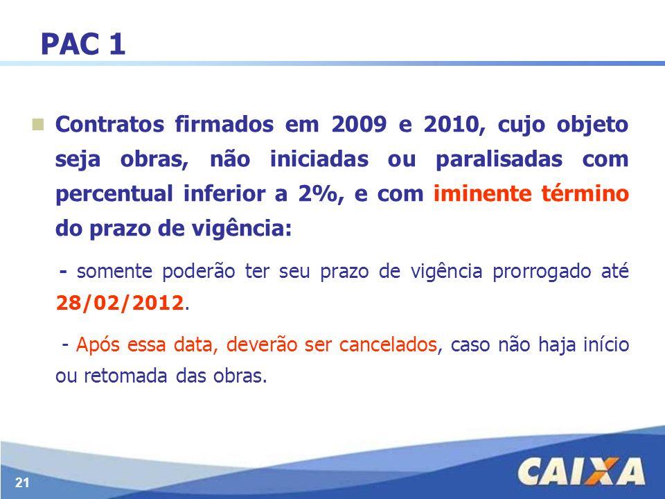 21 PAC 1 Contratos firmados em 2009 e 2010, cujo objeto seja obras, não iniciadas ou paralisadas com percentual inferior a 2%, e com iminente término