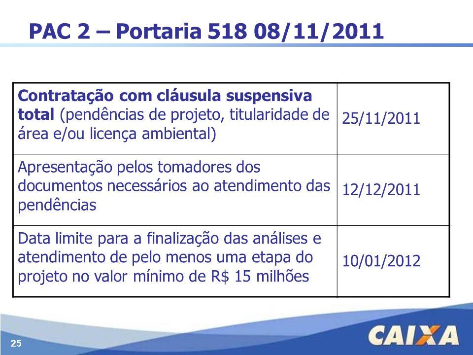 25 PAC 2 – Portaria 518 08/11/2011 Contratação com cláusula suspensiva total (pendências de projeto, titularidade de área e/ou licença ambiental) 25/1