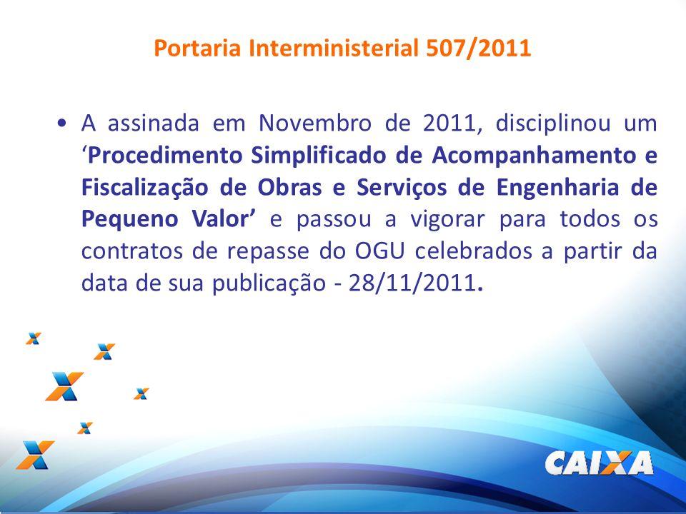 3 A assinada em Novembro de 2011, disciplinou umProcedimento Simplificado de Acompanhamento e Fiscalização de Obras e Serviços de Engenharia de Pequen