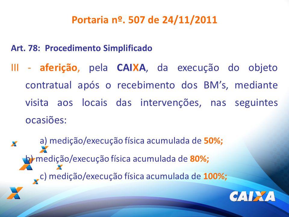 8 Portaria nº. 507 de 24/11/2011 Art. 78: Procedimento Simplificado III - aferição, pela CAIXA, da execução do objeto contratual após o recebimento do