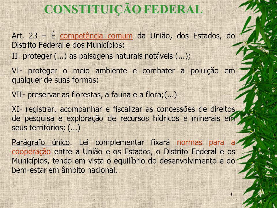 3 CONSTITUIÇÃO FEDERAL competência comum Art. 23 – É competência comum da União, dos Estados, do Distrito Federal e dos Municípios: II- proteger (...)