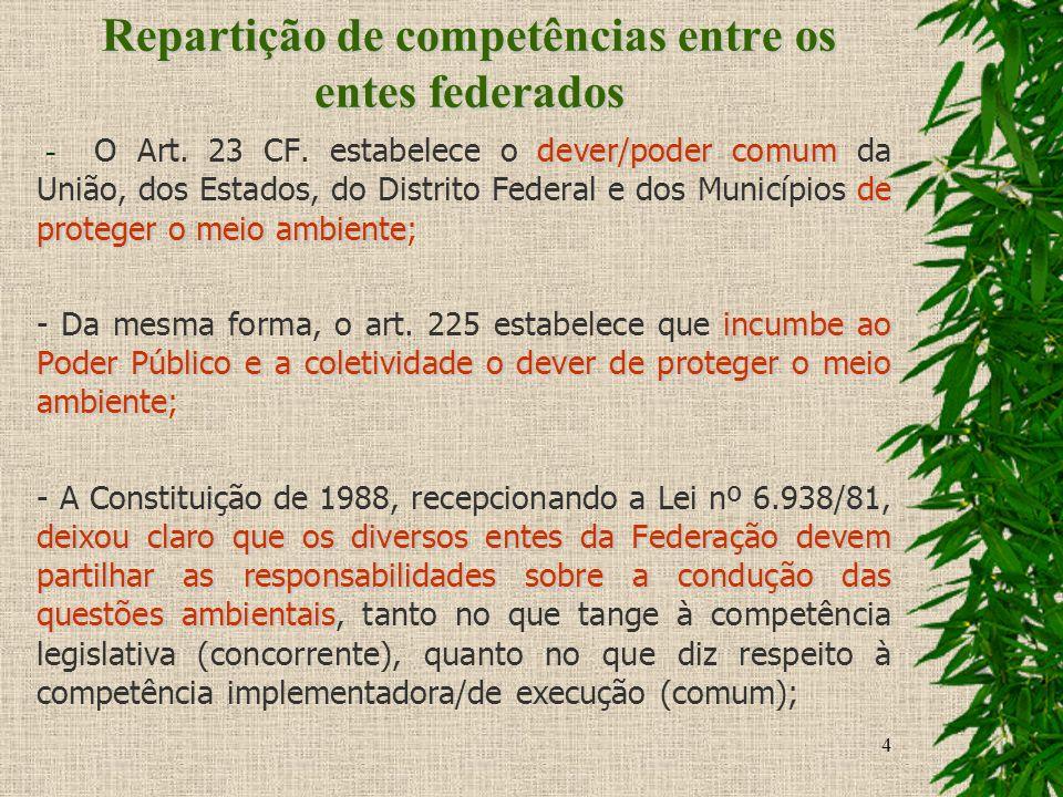 4 Repartição de competências entre os entes federados dever/poder comum de proteger o meio ambiente - O Art. 23 CF. estabelece o dever/poder comum da