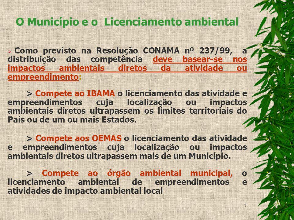 7 O Município e o Licenciamento ambiental deve basear-se nos impactos ambientais diretos da atividade ou empreendimento: Como previsto na Resolução CO