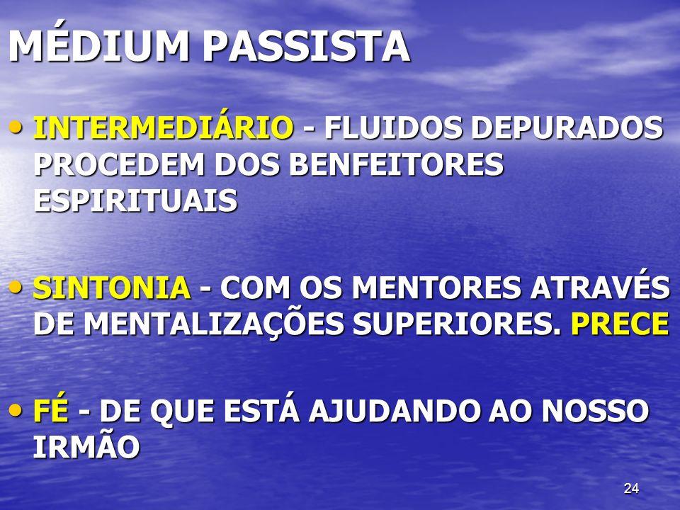 24 MÉDIUM PASSISTA INTERMEDIÁRIO - FLUIDOS DEPURADOS PROCEDEM DOS BENFEITORES ESPIRITUAIS INTERMEDIÁRIO - FLUIDOS DEPURADOS PROCEDEM DOS BENFEITORES E