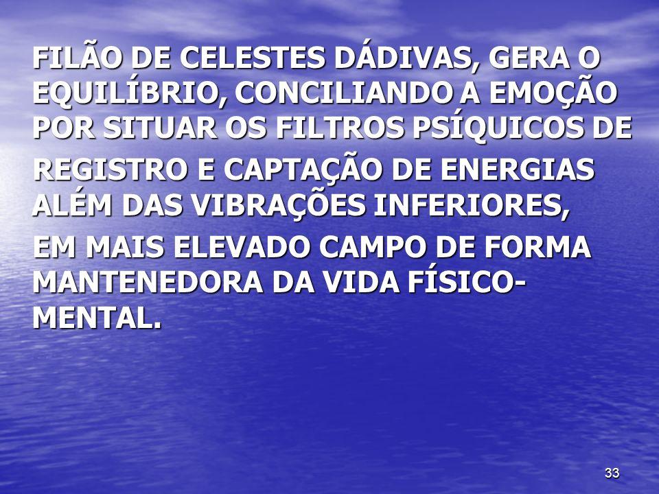 33 FILÃO DE CELESTES DÁDIVAS, GERA O EQUILÍBRIO, CONCILIANDO A EMOÇÃO POR SITUAR OS FILTROS PSÍQUICOS DE REGISTRO E CAPTAÇÃO DE ENERGIAS ALÉM DAS VIBR