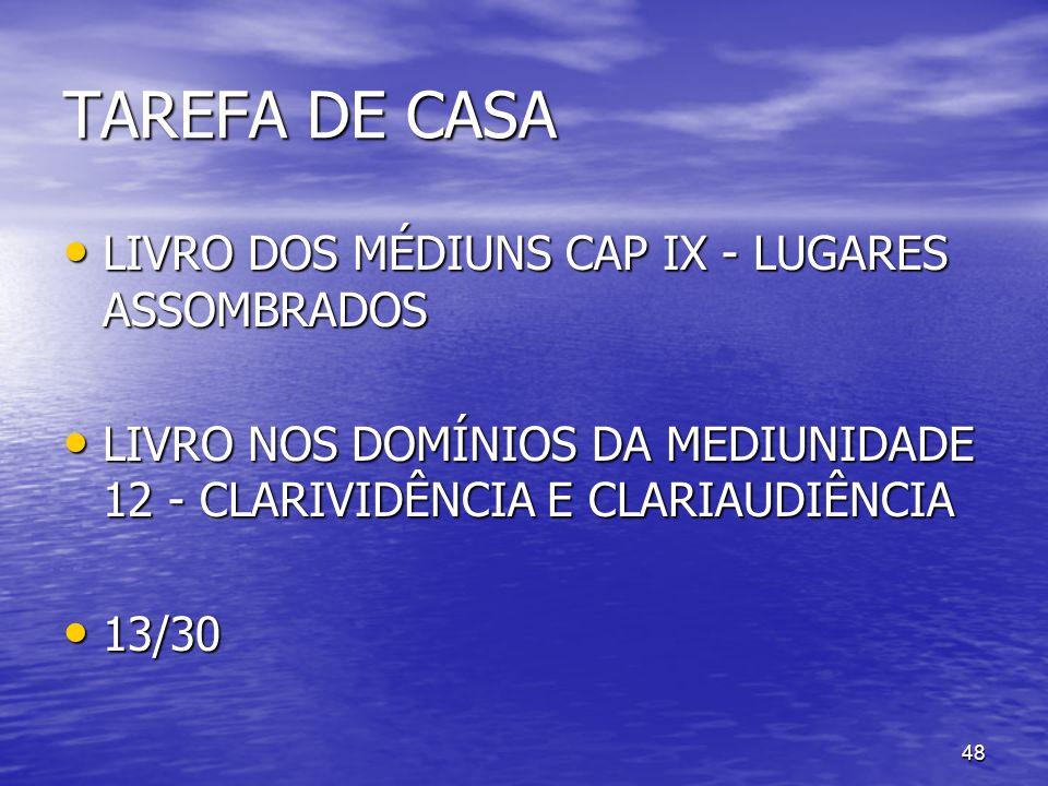 48 TAREFA DE CASA LIVRO DOS MÉDIUNS CAP IX - LUGARES ASSOMBRADOS LIVRO DOS MÉDIUNS CAP IX - LUGARES ASSOMBRADOS LIVRO NOS DOMÍNIOS DA MEDIUNIDADE 12 -